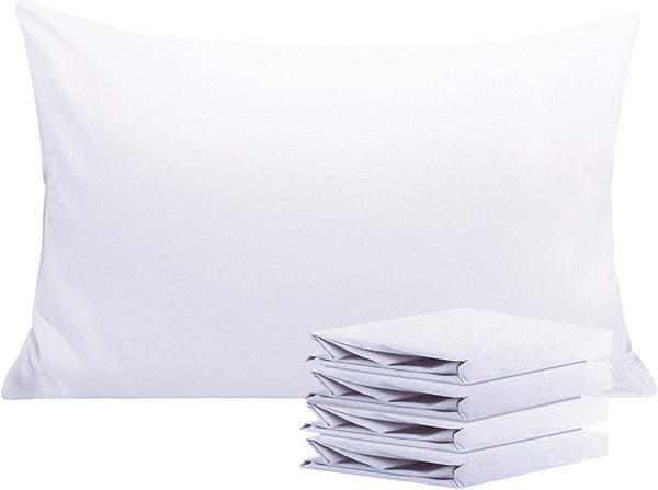 "NTBAY 100% Brushed Microfiber Pillowcases Set of 4, Soft and Cozy, Wrinkle, Fade, Stain Resistant, 20""x 30"", White"