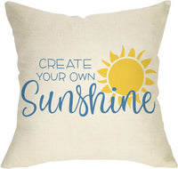 "Softxpp Create Your Own Sunshine Decoration Summer Farmhouse Throw Pillow Cover Inspirational Sign Home Decor Cushion Case Decorative for Sofa Couch 18"" x 18"" Inch Cotton Linen"