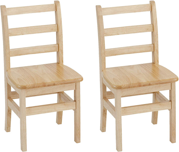"ECR4Kids 14"" Hardwood 3-Rung Ladder-back Chair, Natural (Pack of 2)"