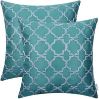CaliTime Pack of 2 Faux Silk Throw Pillow Covers Cases for Sofa Couch Home Decoration 18 X 18 Inches Gradient Quatrefoil Accent Geometric Chain Embroidered Teal