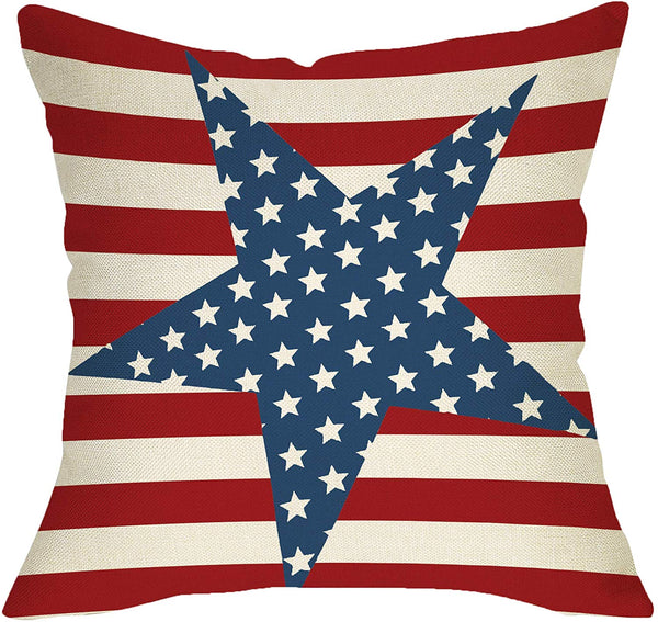 Fbcoo July 4th Patriotic Farmhouse Decorative Throw Pillow Case Vintage American Flag Decoration Star Independence Day Sign Cushion Cover Home Decor 18 x 18 Inch Cotton Linen for Sofa Couch