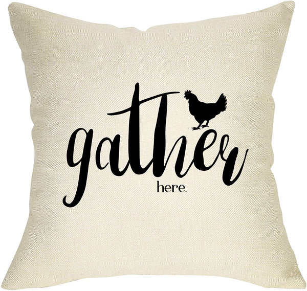 Fbcoo Rustic Farmhouse Decorative Throw Pillow Case Gather Here with Hen Cushion Cover Home Decor 18 x 18 Inch Cotton Linen for Sofa Couch