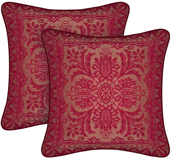 amorus Set of 2 Boho Throw Pillow Covers Chenille Jacquard Sofa Cushion Cover, Decorative Couch Pillowcase for Living Room Bedroom (18x18 inches)