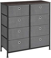 SONGMICS 4-Tier Wide Drawer Dresser, Storage Unit with 8 Easy Pull Fabric Drawers and Metal Frame, Wooden Tabletop for Closets, Nursery, Dorm Room, Hallway, 31.5 x 11.8 x 32.1 Inches, Gray ULTS24G