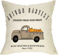 "Softxpp Autumn Harvest Pumpkin Decoration Fall Farmhouse Throw Pillow Cover Thanksgiving Day Vintage Truck Sign Home Decor Cushion Case Decorative for Sofa Couch 18"" x 18"" Inch Cotton Linen"