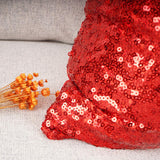 "YOUR SMILE Pack of 2 New Luxury Series Red Bling Decorative Glitzy Sequin & Comfy Satin Solid Throw Pillow Cover Cushion Case for Wedding/Christmas 18"" x 18"""