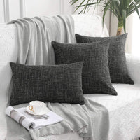 MIULEE Pack of 2 Decorative Square Throw Pillow Covers Farmhouse Style Linen Cushion Cases Vintage Decor Black Pillow Cases for Couch Sofa Bedroom Car 18 x 18 Inch 45 x 45 cm