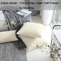 Home Brilliant Solid Throw Pillows Decorative Accent Pillow Case Striped Corduroy Plush Velvet Cushion Cover Sofa, Cream Cheese, 18x18 inch (45cm)