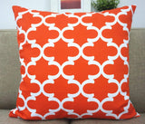 Howarmer Canvas Cotton Orange Decorative Throw Pillows Covers Set of 4 -Geometric Quatrefoil,ogee,trellis Chain Accent Cushion Covers