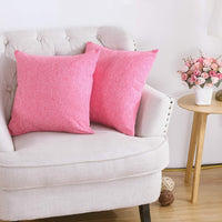 Sunday Praise Cotton-Linen Decorative Pillow Covers Solid Pink Accent Square Throw Pillow Cases,18x18 Inches Cushion Covers Euro Sham for Sofa Couch Bed&Car,Pack of 2