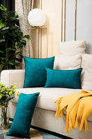 Zealax 2-Pack Decorative Throw Pillow Covers 18 x 18 inches Comfortable Faux Suede Pillowcases for Sofa Couch Living Room Decor, Deep Teal
