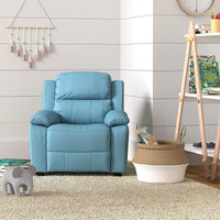 AmazonBasics LeatherSoft Kids/Youth Recliner with Armrest Storage, 5+ Age Group, Light Blue