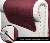 CHHKON Sofa Cover with Anti-Skip Dog Paw Print 100% Waterproof Quilted Furniture Protector Sofa Slipcover for Children, Pets for Leather Couch (Burgundy, XL Sofa)