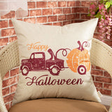 "Fjfz Halloween Farmhouse Decorative Throw Pillow Cover Happy Holiday Pumpkin Sign Autumn Vintage Truck Decoration Rustic Fall Home Decor Cotton Linen Cushion Case for Sofa Couch, 18"" x 18"""