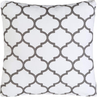 Mika Home Pack of 2 Embroidery Quatrefoil Accent Throw Pillowcase Cushion Covers for 18X18 Inserts Cotton Fabric Grey White