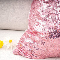 "YOUR SMILE Pack of 2, New Luxury Series Pink Decorative Glitzy Sequin & Comfy Satin Solid Throw Pillow Cover Cushion Case for Wedding/Party,12"" x 20"""