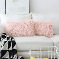 Home Brilliant 2 Packs Decorative Oblong Pillow Cover Rectangular Merino Faux Fur Fuzzy Accent Pillows Case for Bed, 12x20 Inch (30cmx50cm), Pink