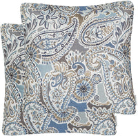 Mika Home Pack of 2 Decorative Accent Throw Pillow Cover Sham Cushion Case,Paisley Pattern,20x20 Inches,Blue Brown Cream Multicolor