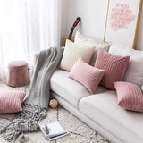 UGASA Decor Soft Solid Velvet Toss Throw Pillow Cover Fashion Striped Decorative Pillow Case Handmade Cushion Cover for Couch, 1 Pc, 24x24 inches, Baby Pink