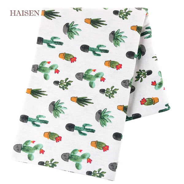 Haisen,Cactus Series Printed Burlap Cotton Linen Fabric For DIY Quilting & Sewing Sofa Table Cloth Curtain Bag Cushion Material