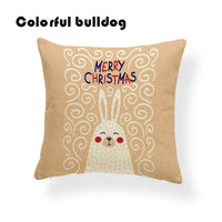 Bear Bird Deer Penguin Cushion Santa Claus Merry Christmas Pillowcase Red Cute Home Gifts For Sofa Throw Pillow 17.7Inch Burlap