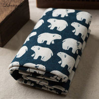 2017New 50x150cm cartoon style Polar bear cotton linen Fabric Burlap for Sewing Textile Quilting  DIY  sofa fabric curtain cloth