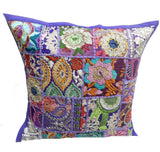 "Vintage Patchwork Cushion Cover 16"" Pillow Sham Embroidered Pouf Sofa Sham Throw"