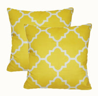 "2 Pack 22x22"" Yellow Home Decor Soft Pillow Case Double-Sided Sofa Cushion Cover"