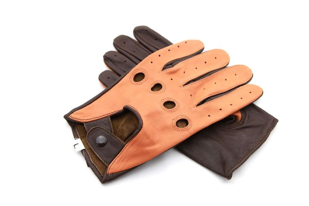Men's Two-Tone Leather Piloting Gloves