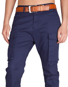 Men's Navy Blue Cargo Flat Pants