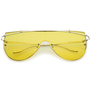 Rimless Metal Crossbar Shield Sunglasses
