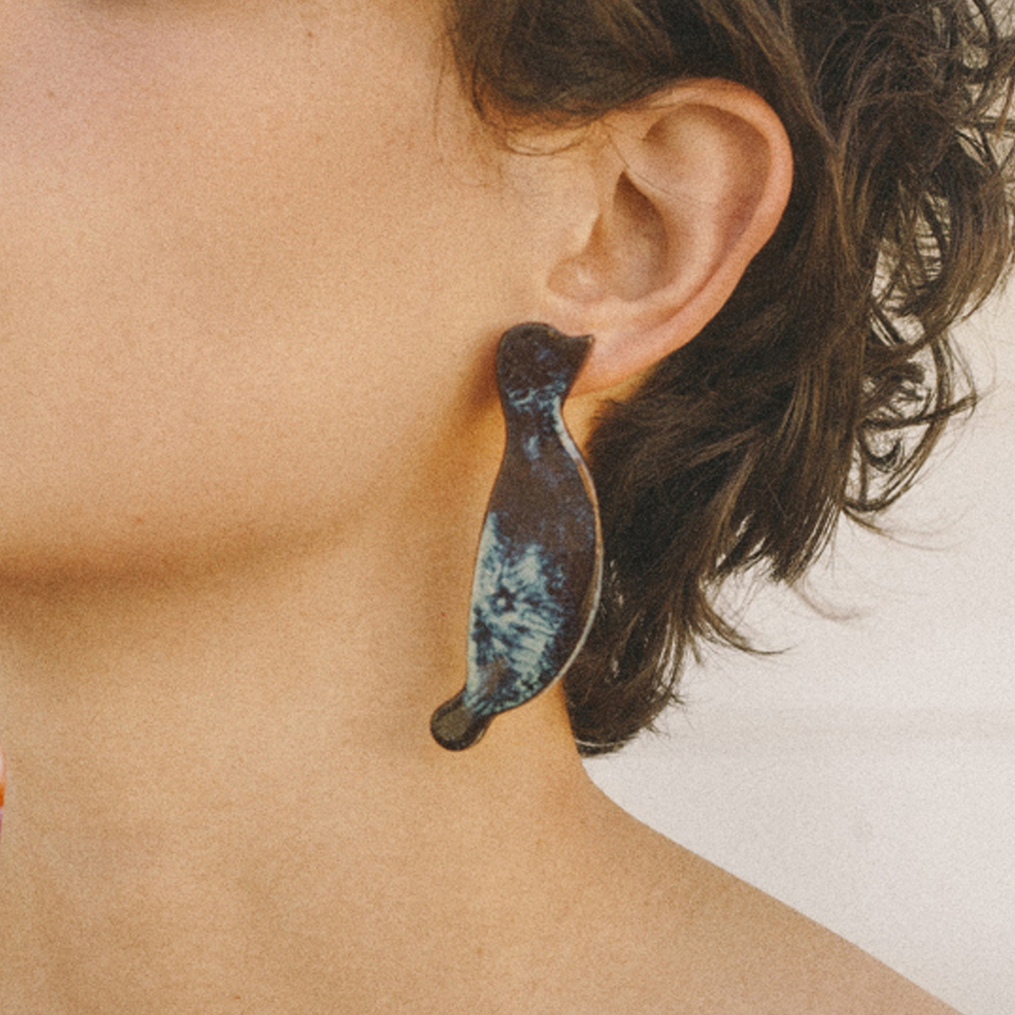 a bird and a marble - earrings