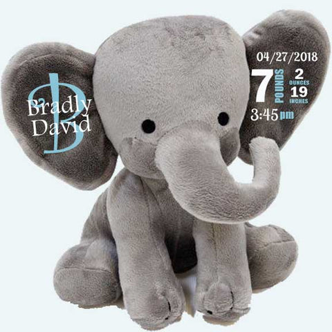 Baby Birth Stats Gray Elephant Personalized Baby Gift | Baby Keepsake