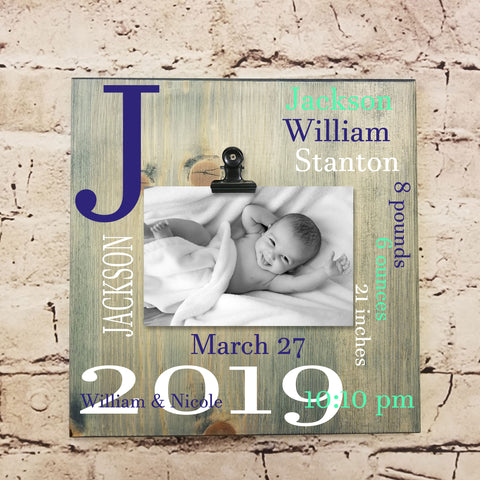 Baby Birth Stats Wooden Sign With Picture | Personalized Baby Gift Keepsake