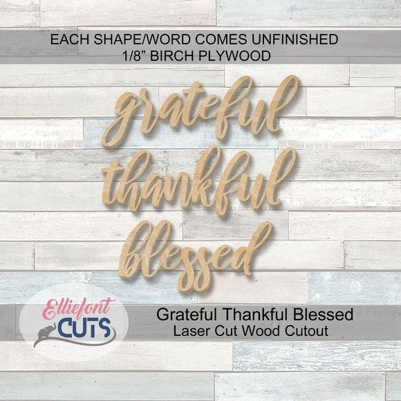grateful thankful blessed wood cutouts