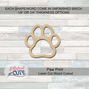 Pawprint Wood Cutouts - Elliefont Styles