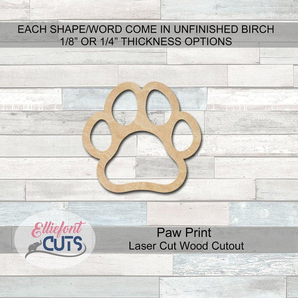 Pawprint Wood Cutouts