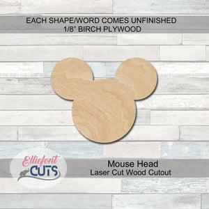 Mouse Head Wood Cutouts - Elliefont Styles