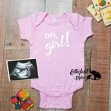 Oh, girl! Pregnancy Announcement Gender Reveal Infant One Piece Bodysuit Onesie