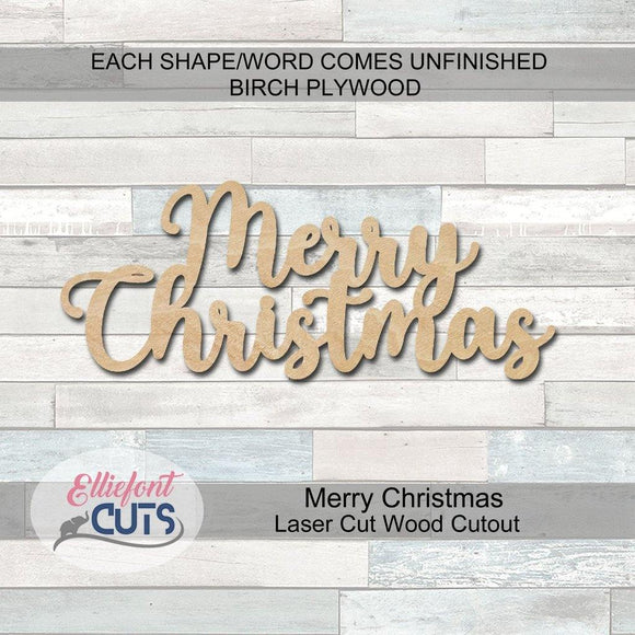 Merry Christmas Wood Words - Elliefont Styles