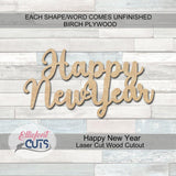 Happy New Year Wood Words