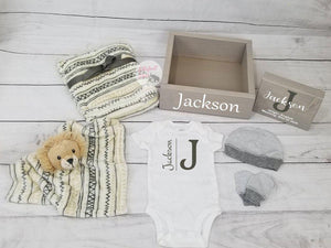 Personalized Baby Gift Set Box | Woodland Nursery | Baby Shower Gift Set - Elliefont Styles