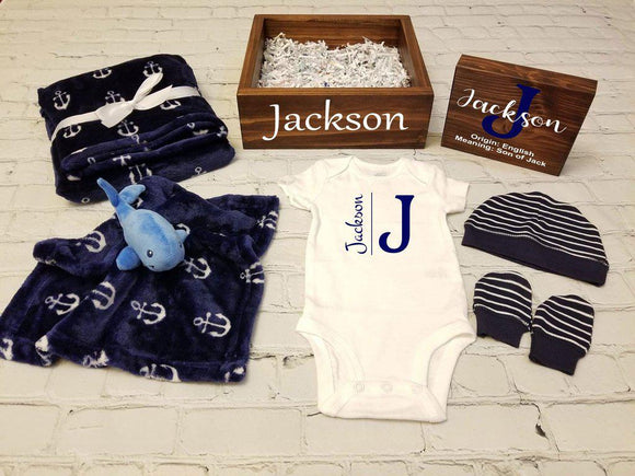 Personalized Baby Gift Set Box | Nautical Baby Shower Gift Set