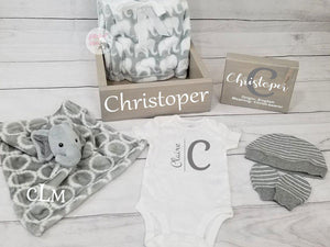 Personalized Baby Gift Set Box | Elephant Nursery | Baby Shower Gift Set - Elliefont Styles