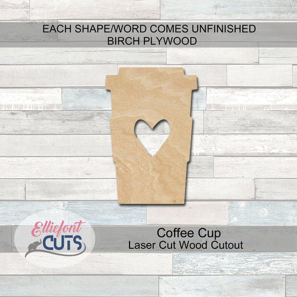 Coffee Cup Wood Cutouts - Elliefont Styles