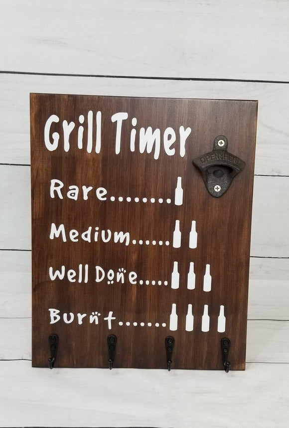 Grill Timer Beer Wood Sign Tool Rack - Elliefont Styles