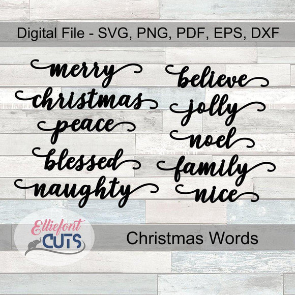 Christmas Words Digital Download - Elliefont Styles