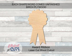 Award Ribbon Wood Cutouts - Elliefont Styles