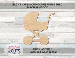 Baby Carriage Wood Cutouts - Elliefont Styles