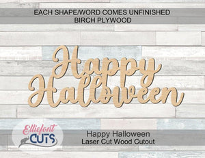 Happy Halloween Wood Words